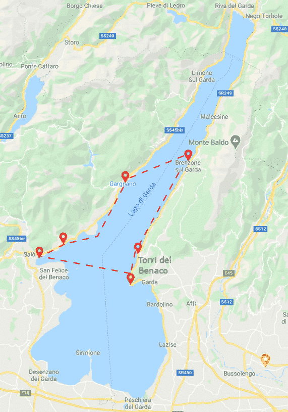 Itinerary map for Lake Garda Center - Boat ride - Boat Rent
