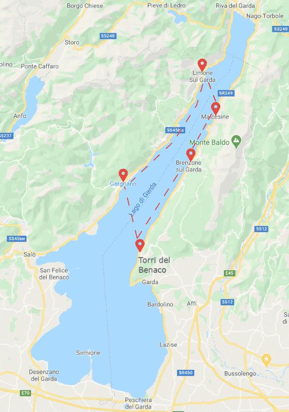North Garda Lake itinerary map - Boat ride - Boat Rent